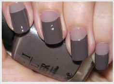 Monochromatic half moon nails nail trends, moon manicur, color combos, colors, manicures, grey, nails, half moon, nail art