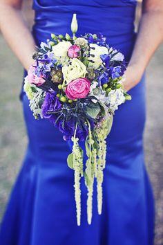 color schemes, beauti bouquet, bouquets, floral designs, blue bridesmaid dresses