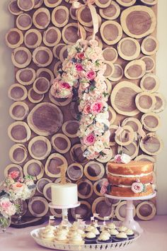 First Birthday #natural #wood #backdrop #flowers