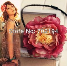 10 x Fahsion flower headwear DIY plait tail with silk peony headbands props braid flowers hair decor two color in free ship-in Hair Accessories from Apparel & Accessories on Aliexpress.com