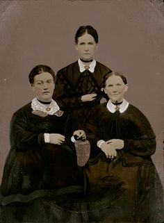 Three Women, ca. 1865-1885, Unidentified artist, tintype with applied color, image: 8 x 6 1/4 in. (20.3 x 15.9 cm) frame: 14 x 11 in. (35.6 x 27.9 cm), Smithsonian American Art Museum, Gift of Mitchell and Nancy Steir, 2009.44.34