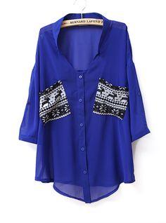 Pockets Color Metching V Neck Chiffon Shirt Blue