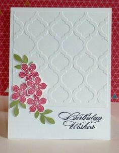 Stampin' Up! CAS Card: Petite Petals birthday, petite petals stampin up, cards using embossing folders, stampin up petite petals cards, stampin up cards embossed, making cards, card stock, stampin'up mosaic cards, beauti card