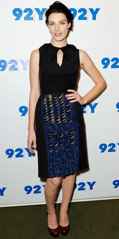 Mad Men's Jessica Pare wore a silk Fendi dress and leather pumps to an event at Kaufman Concert Hall in New York City.