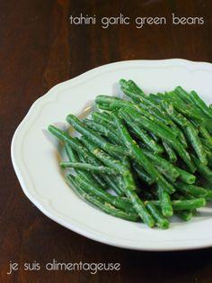 Tahini garlic green beans