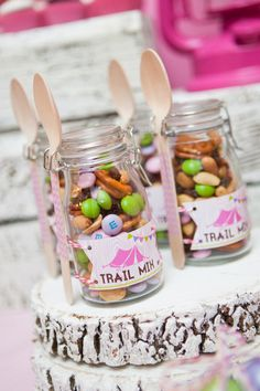 Glam camping birthday party trail mix. Cute way to serve trail mix and lots of cute ideas for a girl's camping themed party.