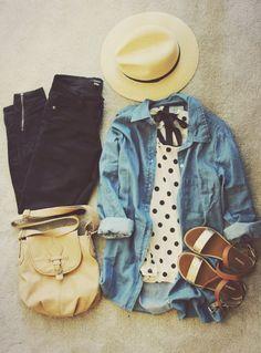 chambray, polka dots, black skinnies, sandals