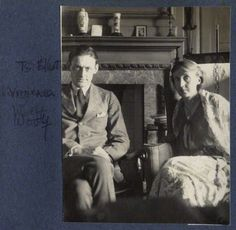 T.S. Eliot and Virginia Woolf in June 1924, as photographed by Lady Ottoline Morrell.