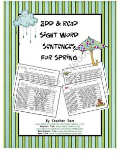This set of games has 3 goals:  1) Students can practice sight word recognition. 2) During the game, students will have to read several sentences more than once, which increases fluency. AND 3) They can practice addition at the same time! This product has 15 pages of sight word sentences with 10 sentences per page. One set is in black