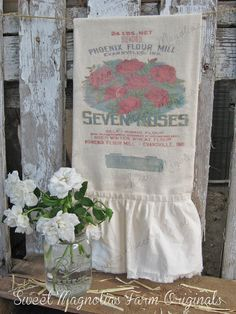 """""""NEW"""" Feed/Seed Sack ~ Flour Sack Kitchen Towel  White or Natural You Choose """"Seven Roses Flour"""" by SweetMagnoliasFarm, 18.00"""