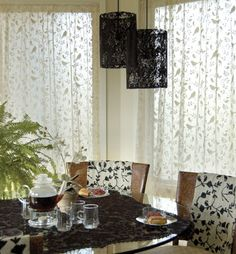 This charming and bold pattern full of birds is available in Swag Pair and Lace Panels up to 96 inches in height.  The 96 inch Lace Panel is $68.95.