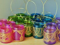 Colorful Candle Lanterns, hand painted baby food jars DIY craft for kids table, use green and blue