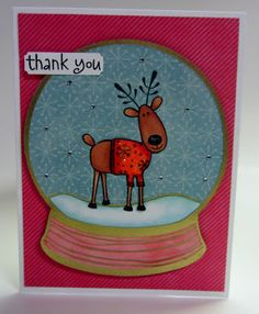 Expression Avenue: Thank You reindeer snow globe card for Christmas made with my Silhouette