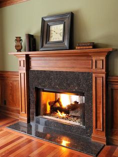 To enhance the architectural details of a fireplace, faux finish the surround in shades of burnt red and orange.