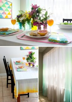 DIY Home Decor With Ombre Curtains & Ombre Table Cloth using Tumble Dye