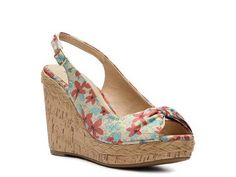 wedg sandal, sandal shop, madden girl, wedge sandals, woman shoes, elivia print, girl elivia, print wedg, slingback wedg