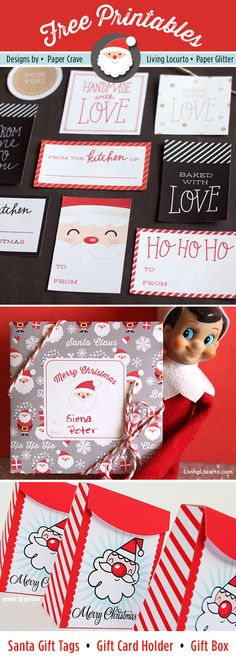 Cute Santa Themed Free Printables for DIY Gifts by Living Locurto #christmasprintables