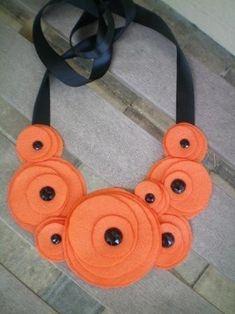 Flower Bib necklace Felt & ribbon Could DIY!