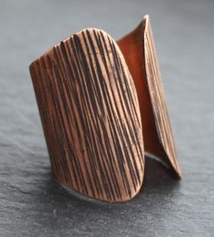 Textured Copper Adjustable Ring by fugudesigns on Etsy, $35.00