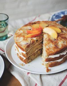 Vanilla Peach Cake with Honey Buttercream Frosting -a Better Happier St. Sebastian