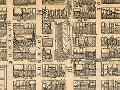 Hand drawn map of Midtown Manhattan from 1890