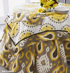 Batavia ikat table linens in yellow and gray for Table linen color combinations