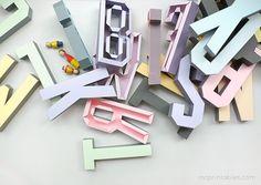 3D Alphabet Templates   Om te printen en zelf letters te maken!  Super!