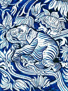 elephants, britt brown, waves, indigo blue, art prints, grow indigo, art crush, eleph print, illustr