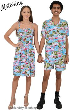Cutest Couples Set - Turquoise Blue Flamingo Mens Hawaiian Shirt and Ladies Tube Dress. Go in exact matching clothing to your next party, cruise, luau or festival. Available individually on our Amazon store. #couplematching #matchymatchy #luauclothing #fancydress #flamingoparty #flamingoshirt #flamingodress #flamingomatching #cruise #cruisewear #festival #festivalclothing