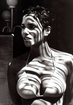 Halle Berry, actress, portrait, black and white, stribes, shadows, curves, celeb, famous, incredible, gifted