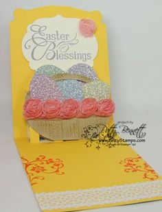 Patty Bennett's clever conversion of the Dress Form Pop 'n Cuts insert into an Easter Basket - full tutorial on her blog. Easter egg pop up card