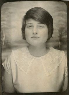 ** Vintage Photo Booth Picture **   Young woman with eyes almost closed but there's a serenity about her.