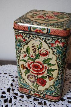 flowered vintage tin box