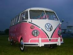 Pink VW van  ...  i MUST have this!!  Time to go buy the winning lottery ticket!