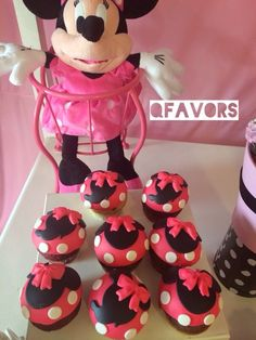 Cute cupcakes at a Minnie Mouse Birthday Party!  See more party ideas at CatchMyParty.com!