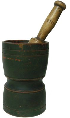 19th century early painted mortar and pestle, It is thick walled, with a nicely turned base, The paint is dry, original