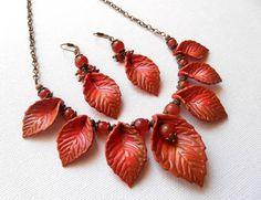 #Fall orange  Fall #leaves  #Handmadejewelry set by #insoujewelry, $56.00