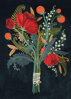 bouquet, color palettes, flower art, becca stadtland, color combinations, greeting cards, paint, floral, print