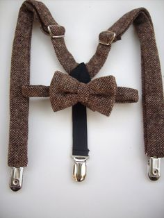 Bow tie and suspenders for toddler boy - brown wool