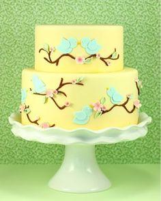 Share small cake pics please? :  wedding cake Yellow Blue Birds Cake
