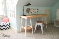 girl room, diy desk, teen girl, bar stools, barstool