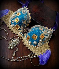Tribal Fusion Bra in Teal Gold and Purple by DancingTribe on Etsy