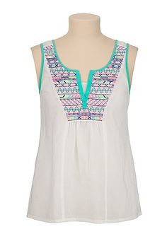 Multi color embroidered tank (original price, $26) available at #Maurices