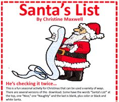 "FREE LANGUAGE ARTS LESSON - ""Free! Christmas Santa's List"" - Go to The Best of Teacher Entrepreneurs for this and hundreds of free lessons.  PreKindergarten - 2nd Grade   #FreeLesson   #LanguageArts   #Christmas  http://www.thebestofteacherentrepreneurs.net/2013/12/free-language-arts-lesson-free_13.html"