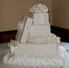 White gift box wedding cake