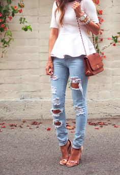Ripped Jeans and Peplum