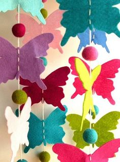 Butterfly garland for Flora's butterfly birthday