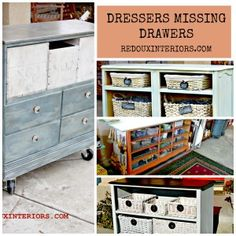 Dressers Missing Drawers. How to Repurpose them.  4 DUMPSTER found Dressers, all repurposed with a new life!  REDOUXINTERIORS.COM FACEBOOK: REDOUX #dressersmissingdrawers #cececaldwellspaints #redouxinteriors #redouxinteriorsmakeover