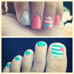 I like the little heart with the stripes but I don't like it in the nails. Just the toe nails