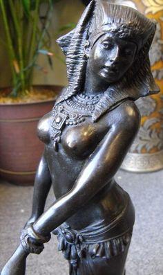 """VIntage Egyptian Woman Bronze Cold Cast Belly Dancer on Black Marble Base, Signed """"Ellis"""". $250.00, via Etsy."""